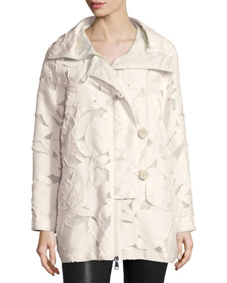 Moncler Pistache Floral Burnout Jacket, Cream