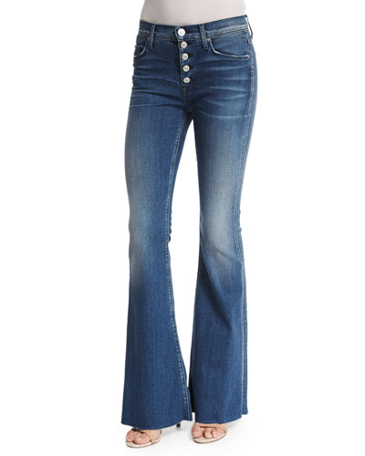 Jodi Button-Fly Flare-Leg Jeans, Blockade