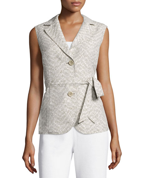Lafayette 148 New York Two-Button Vest W/Self Belt,