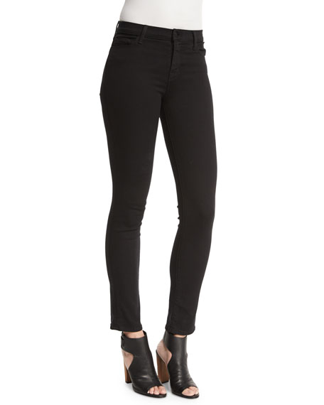 J Brand Jeans Maria High-Waist Ankle Jeans, Seriously Black