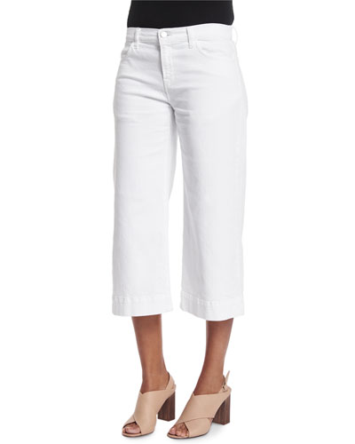 Liza Mid-Rise Cropped Culottes, White