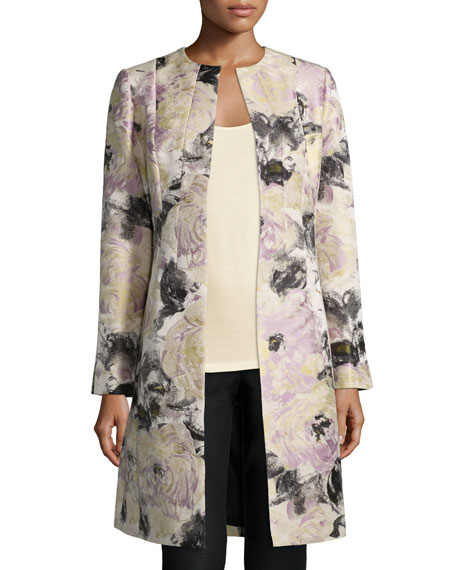 Lafayette 148 New York Roland Floral-Print Long Jacket, Ash/Multi