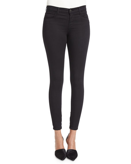 J Brand Jeans Mid-Rise Ankle-Zip Jeans, Black