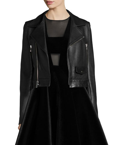 Zip-Front Leather Moto Jacket, Black