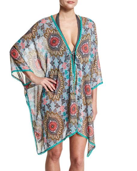 Red Carter Renaissance Printed Kimono Coverup