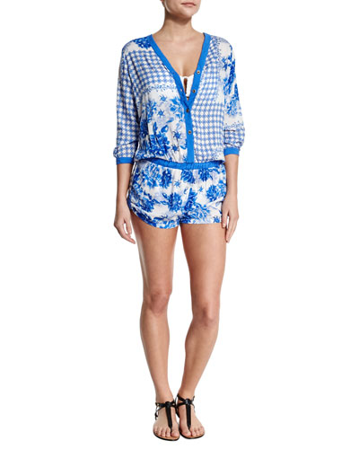 Levana Floral-Print Short Romper Coverup
