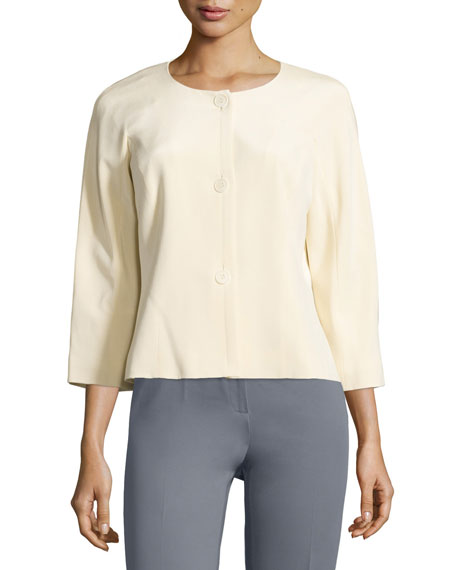 Lafayette 148 New York Mia Silk Three-Button Jacket, Corn Silk