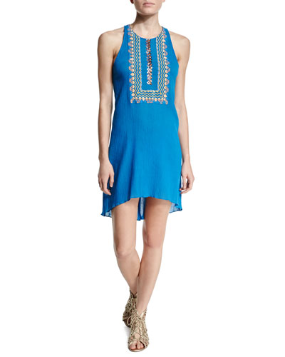 Bib-Front Plisse Tank Dress, Cobalt