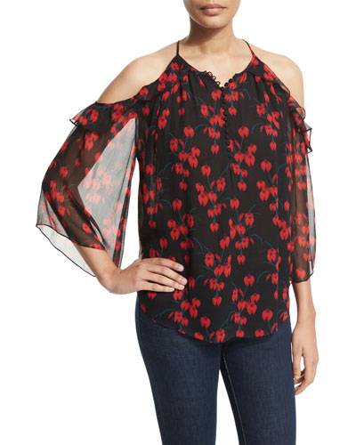 Alea Cold-Shoulder Ruffle Blouse, Night Orchid