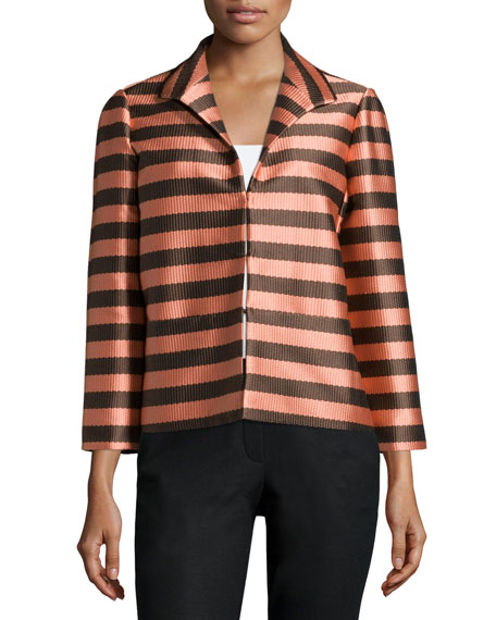 Lafayette 148 New York Bellene 3/4-Sleeve Striped Jacket, Granite/Multi