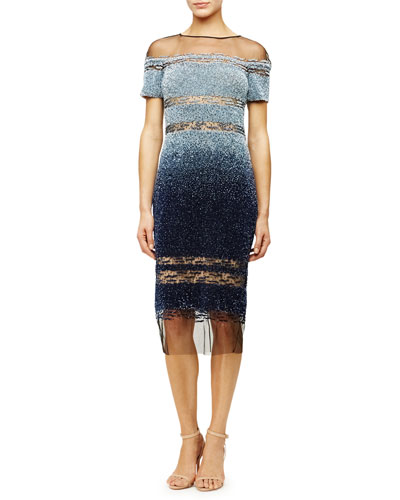 Sheer-Inset Ombre Sequined Dress, Light Blue/Navy