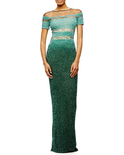 Sheer-Inset Ombre Sequined Gown, Light Emerald
