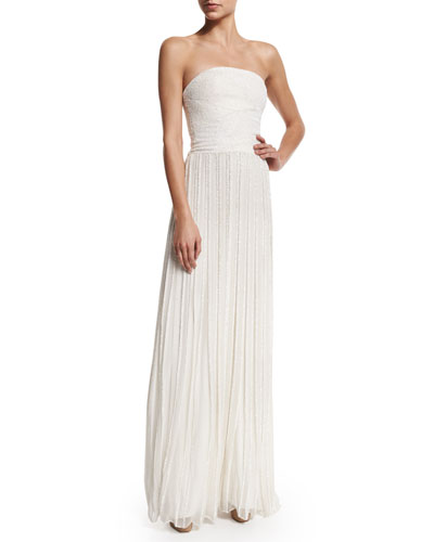 Pamella Roland Strapless Embellished Pleated Gown, Ivory