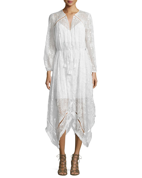 Zimmermann Hanna Embroidered Dress with Fringe-Trim