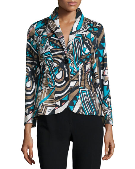Lafayette 148 New York Leonora Button-Front Printed Jacket, Chai Multi