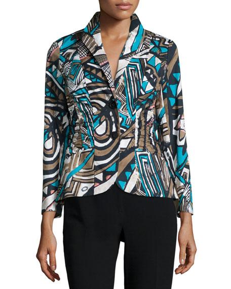 Lafayette 148 New York Leonora Button-Front Printed Jacket, Chai Multi