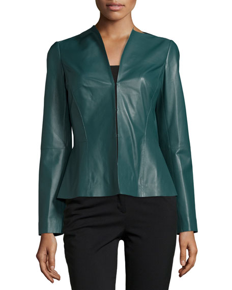 Liv V-Neck Leather Jacket, Hemlock