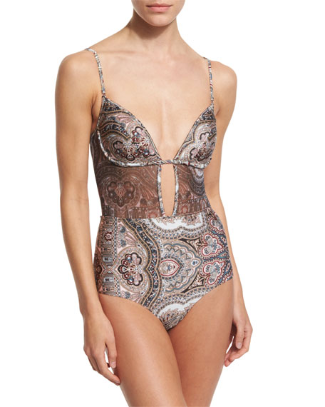 Epoque Tulip Paisley-Print One-Piece Swimsuit