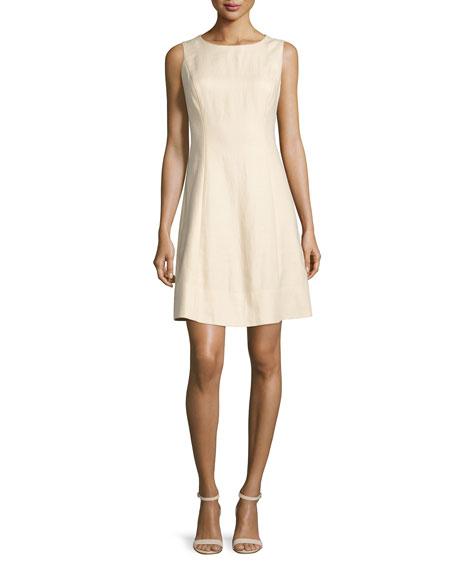 Lafayette 148 New York Laurette Sleeveless A-Line Dress, Cornsilk