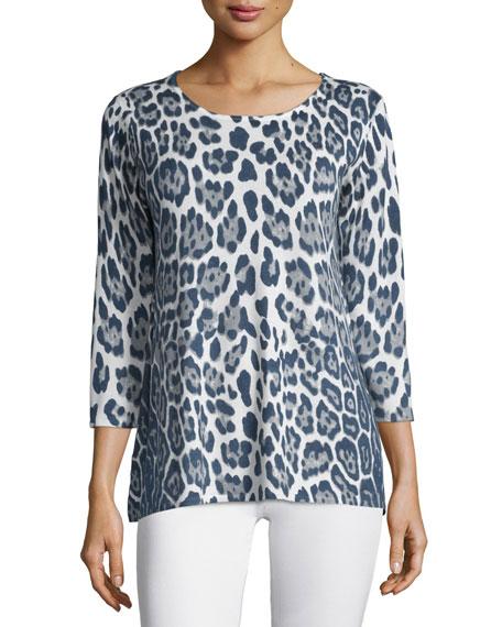 Neiman Marcus Cashmere Collection 3/4-Sleeve Leopard-Print Cashmere Tunic
