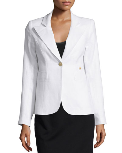 Duchess One-Button Linen Blazer, White