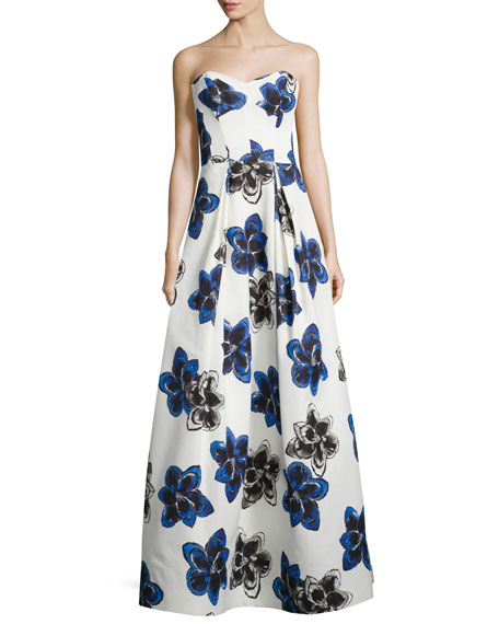 MillyStrapless Floral-Print Ball Gown, Sapphire