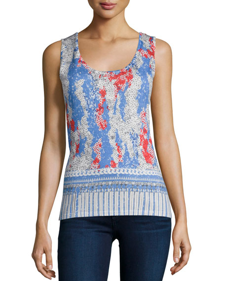 Neiman Marcus Cashmere Collection Sequin Charm Printed Cashmere Tank
