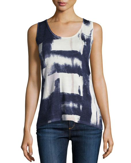 Neiman Marcus Cashmere Collection Blocked Ink Cashmere Tank