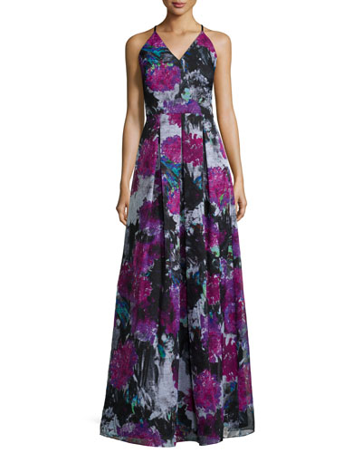 V-Neck Crisscross-Back Floral Gown