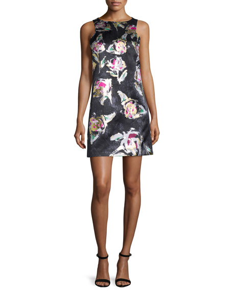 Phoebe Couture Sleeveless Floral-Print Shift Dress