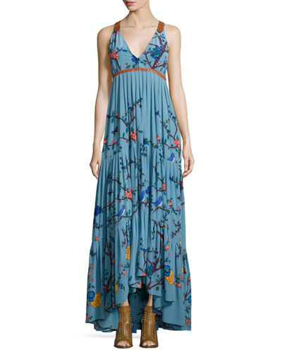 Tracy Reese Sleeveless Tiered Botanical-Print Maxi Dress