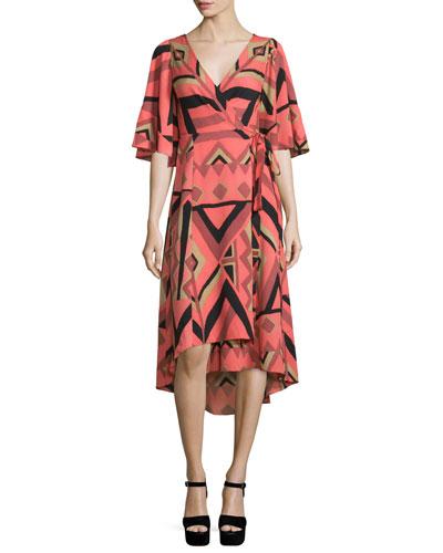 Short-Sleeve Kimono Printed Wrap Dress
