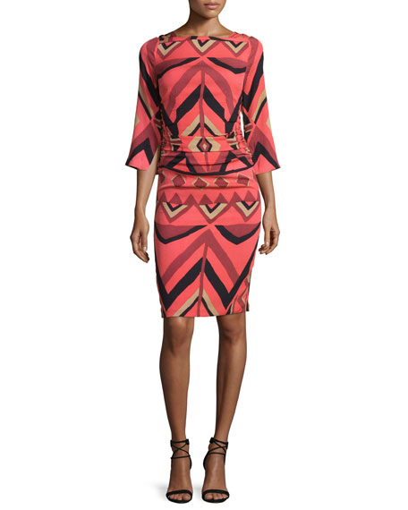 Tracy Reese 3/4-Sleeve Tribal-Print Ruched Sheath Dress
