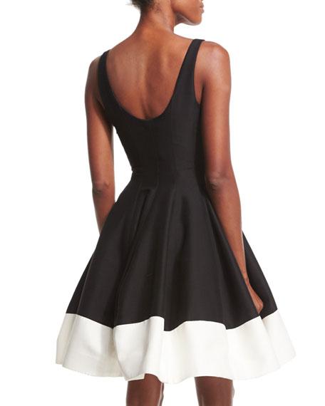 Sleeveless Scoop-Neck Colorblock Fit & Flare Dress, Black/Bone