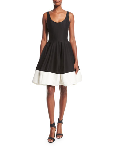Halston Heritage Sleeveless Scoop-Neck Colorblock Fit & Flare
