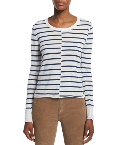 Allie Long-Sleeve Striped Sweater, Ivory/Navy