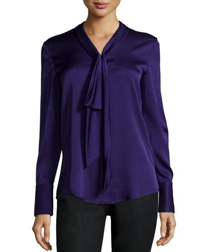 Lola Long-Sleeve Tie-Neck Silky Blouse
