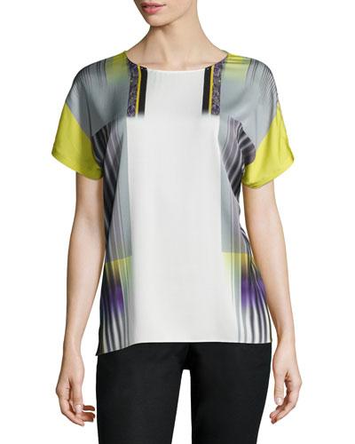 Nilsa Short-Sleeve Silk Tee