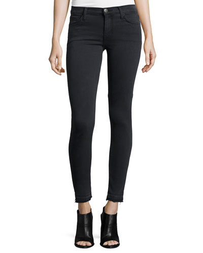 Current/Elliott The Stiletto Skinny Raw-Hem Jeans, Carlsbad Black