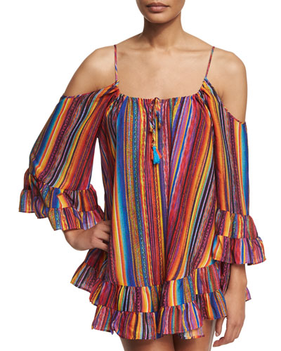 Bahia Coast Printed Cold-Shoulder Dress