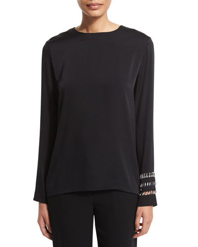 Long-Sleeve Shirt with Embellished Cuffs