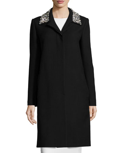 Embellished-Collar Long Jacket, Black