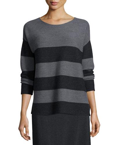 Long-Sleeve Striped Box Top, Ash/Charcoal