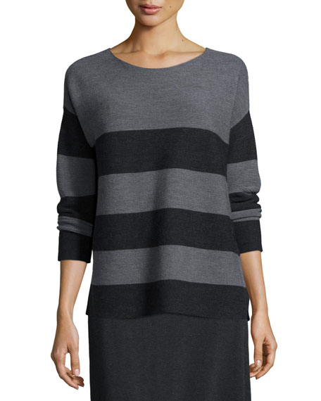 Eileen Fisher Long-Sleeve Striped Box Top, Ash/Charcoal