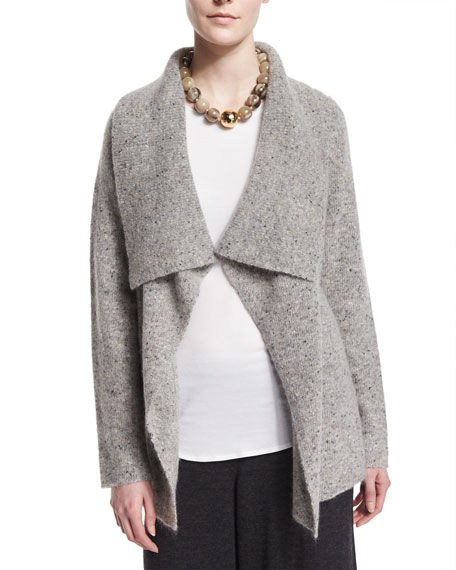 Eileen Fisher Donegal Shawl-Collar Coat, Petite