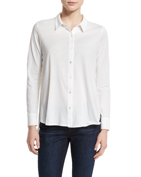 Eileen Fisher High-Low Button-Front Shirt, White
