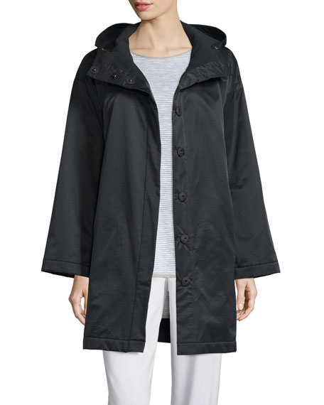 Eileen Fisher Hooded Boxy Outerwear Coat, Plus Size