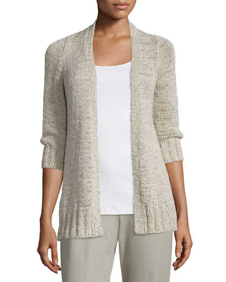 Eileen Fisher Rustic Twisted 3/4-Sleeve Cardigan