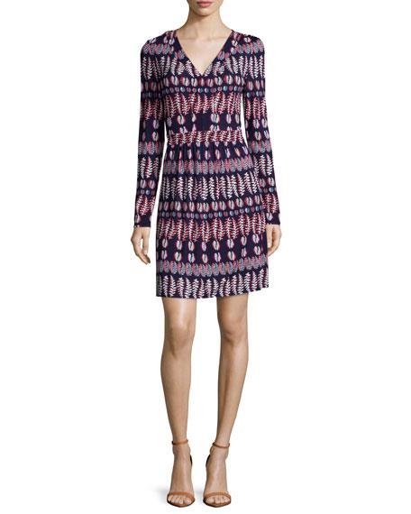 Tory Burch Long-Sleeve Fern-Print Matte Jersey Dress