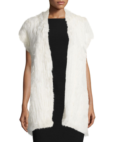 Natori Cap-Sleeve Fur Vest, Antique Cream